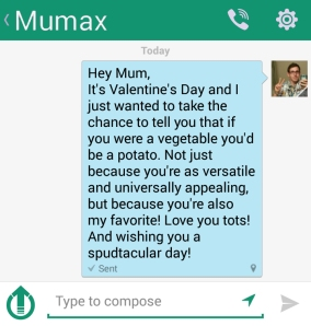The message I sent to my mother for Valentine's Day
